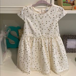 Carters baby girl dress in cream with gold hearts